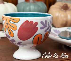 Brea Floral Pedestal Bowl