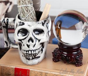 Brea Antiqued Skull Mug